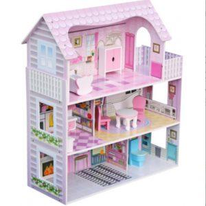 """בית בובות דגם """"אגם"""" שלוש קומות כולל ריהוט לבית"""