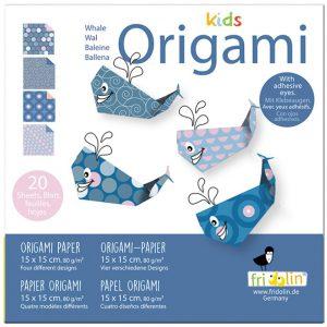 """ערכת קיפולי נייר """"ילדים אוריגמי"""" דגם : לוויתן"""