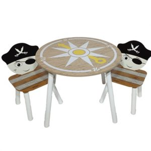 סט שולחן ו-2 כיסאות מעץ דגם פירטים בצבעי עץ, שחור ולבן