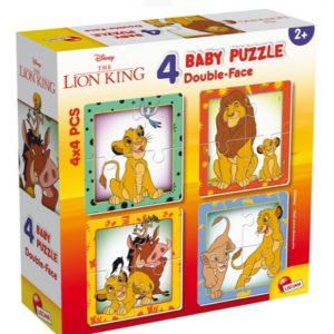 """4 פאזלים דו צדדים – """"מלך האריות"""" – מבית Lisciani"""