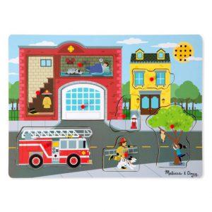 """פאזל צלילים מעץ """"רכב כיבוי אש"""" Melissa & Doug"""