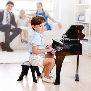 """פסנתר עץ כנף שחור לילדים  """"HAPE"""""""