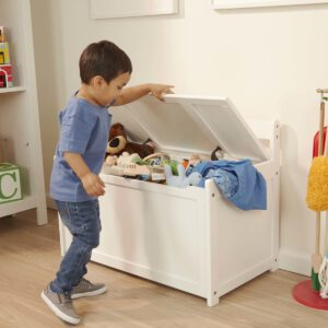 """ספסל וארגז צעצועים מעץ  – לבן  """"Melissa & Doug"""""""