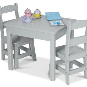 """סט שולחן  2 כסאות – בצבע אפור """"Melissa & Doug"""""""