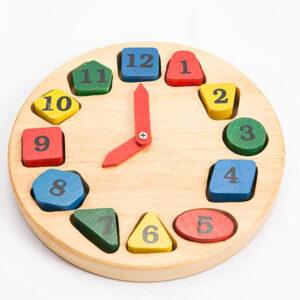 שעון עץ איכותי למיון ולמידת צורות ומספרים מונטסורי