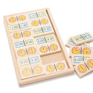 משחק דומינו עץ – שעון אנלוגי ודיגיטלי מונטסורי