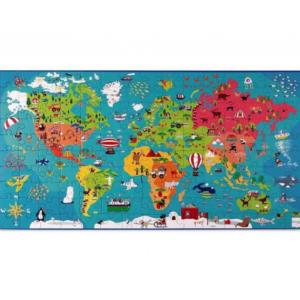 """פאזל לילדים """"מפת העולם"""" 150 חלקים """"SCRATCH"""" מונטסורי"""