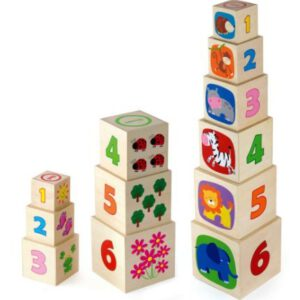 """שש קוביות עץ התאם מספר ותמונה """"Viga"""""""