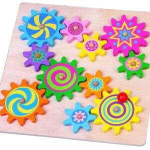 """לוח גלגלי שיניים צבעוניים מעץ """"Viga"""""""